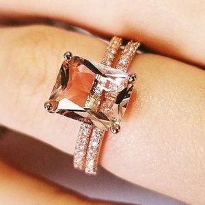 NEW 2PC/Set 18K Rose Gold Radiant Cut Morganite Engagement Ring